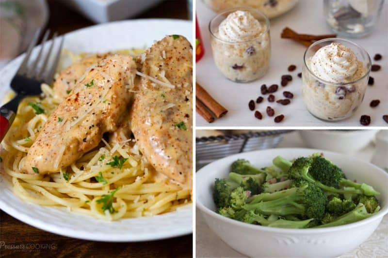 chicken lazone, rice pudding, and broccoli