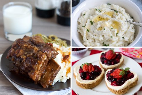 short ribs, mashed potatoes, mini cheesecakes