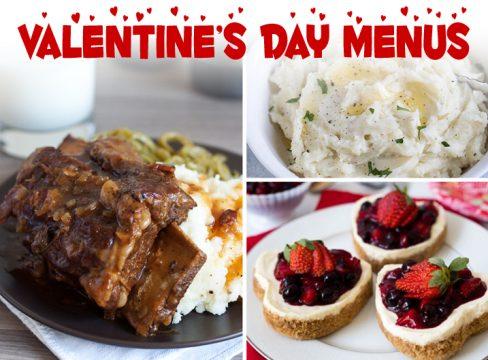 Short ribs, mashed potatoes, and heart shaped cheesecakes.