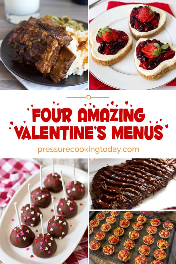short ribs, heart shaped cheesecakes, chocolate covered cheesecake pops, brisket, and strawberry mango dessert cups.