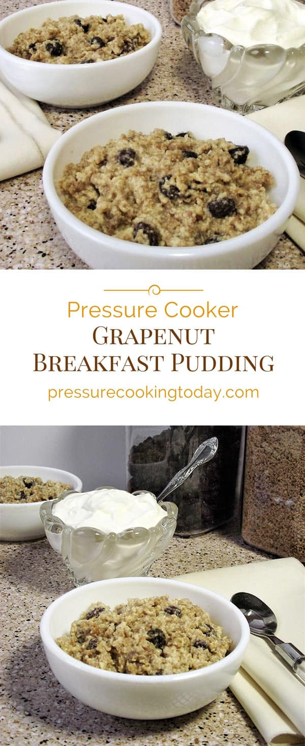 Start the day with a warm, easy-to-make Pressure Cooker Grapenut Breakfast Pudding. It's an old-fashioned recipe made in faster and easier in today's modern pressure cooker.
