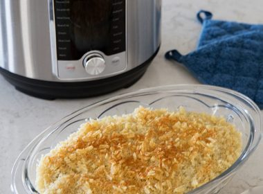 cheesy, breadcrumb topping for pressure cooker hashbrown casserole