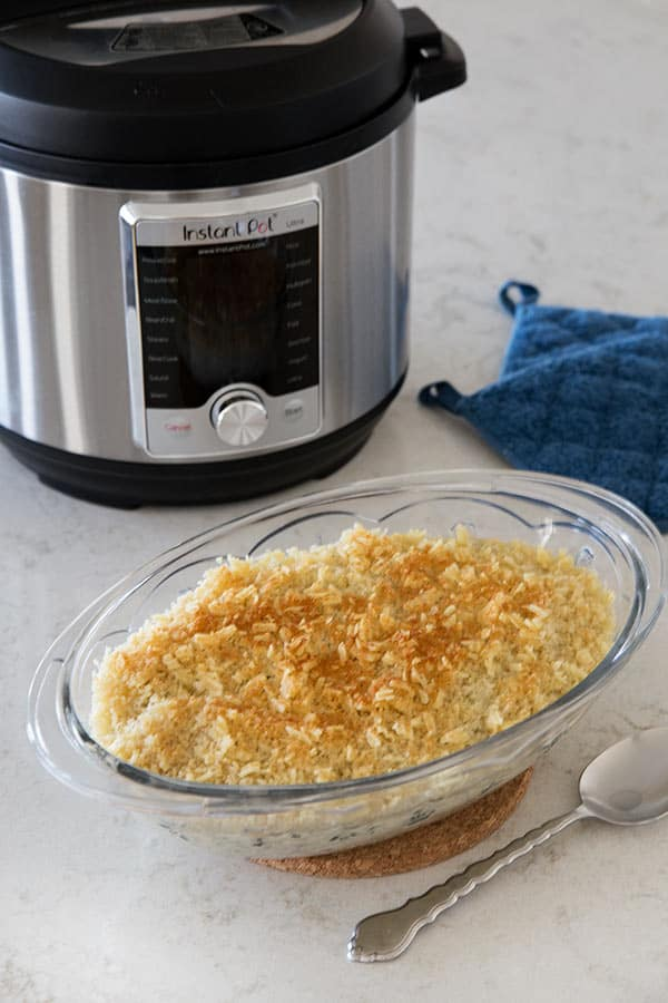 Pressure Cooker Cheesy Hash Brown Casserole aka Pressure Cooker Funeral Potatoes