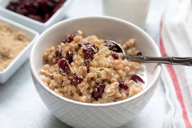 ThisPressure Cooker Lemon Cranberry Breakfast Farro is a great start to the day.