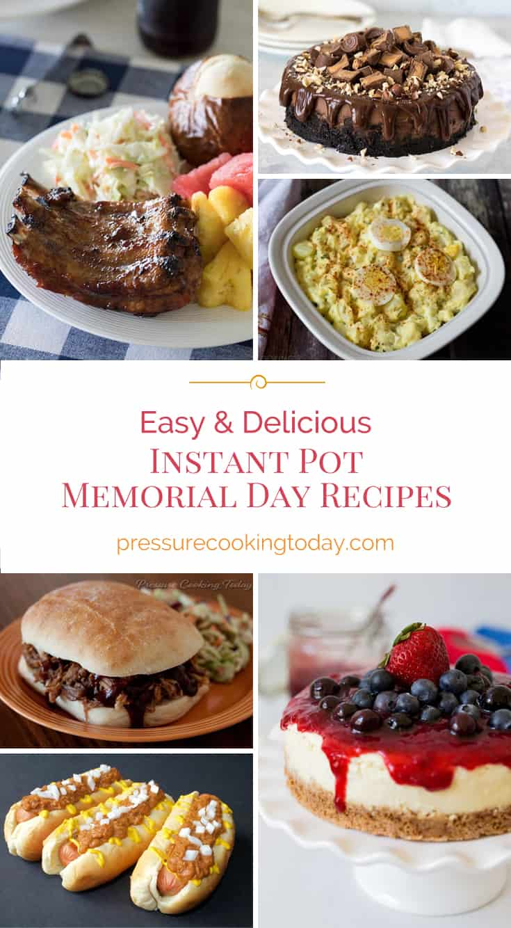 Instant Pot and Pressure Cooker recipes photo collage—baby back ribs, potato salad, cheesecake, pulled pork, chili dogs