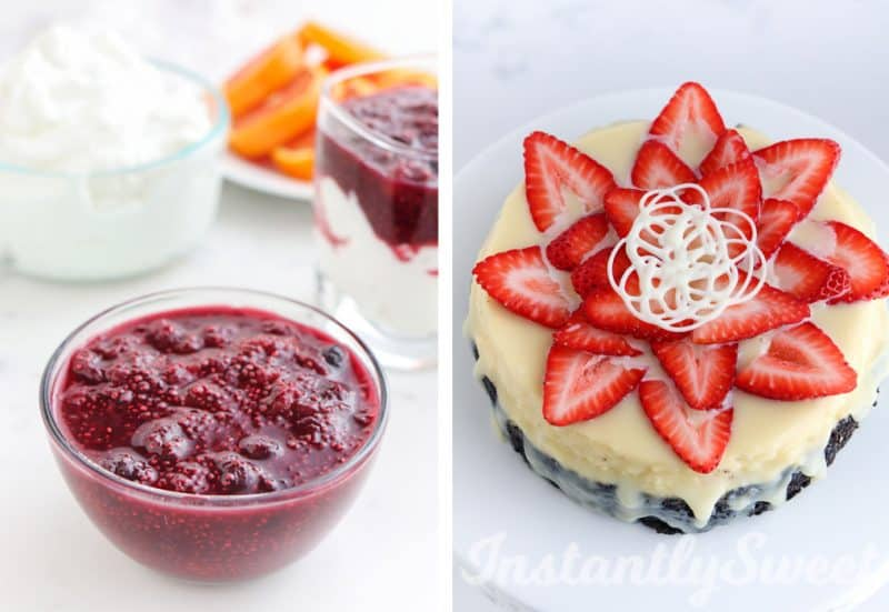 Collage of Berry Fruit Topping and Strawberry Cheesecake