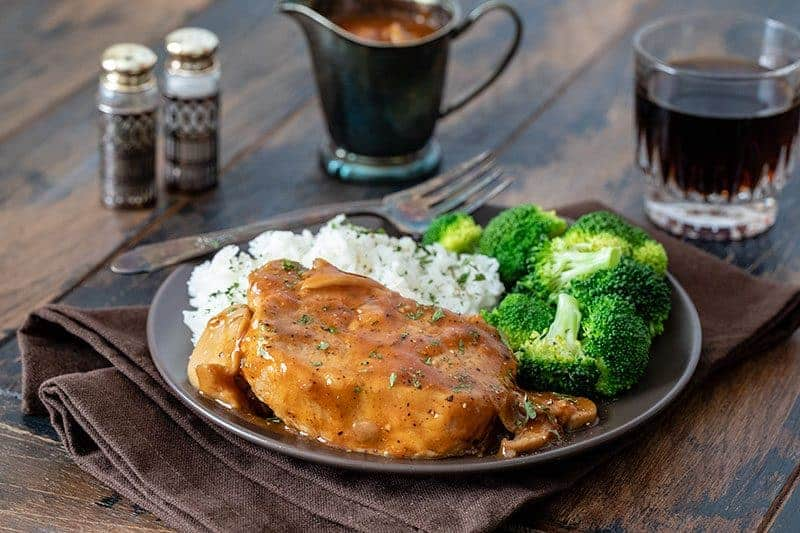 Shortcut Pressure Cooker (Instant Pot) Boneless Pork Chops recipe, made quick and easy with Onion Soup mix