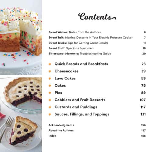 Table of Contents for Instantly Sweet, the new dessert cookbook from Pressure Cooking Today and TIDBITS