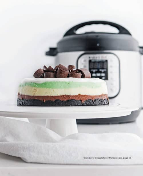 It looks hard, but it isn't! Make this Triple-Layer Mint Chocolate Cheesecake in your Instant Pot or other brand of electric pressure cooker.