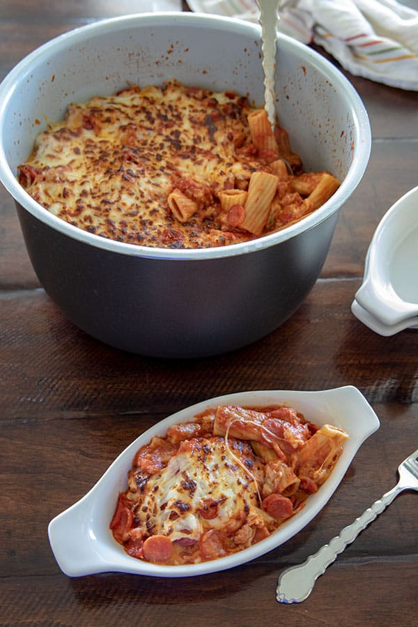 This Ninja Foodi Pressure Cooker Pepperoni Pizza Pasta is a perfect family meal. It's hearty and filling with an irresistible golden, cheesy top.
