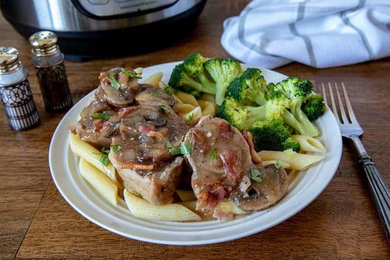 Pressure Cooker Pork Tenderloin Marsala over gluten free penne noodles