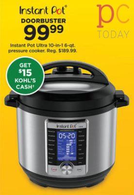 Kohls Black Friday Instant Pot Ultra 6qt Pressure Cooker