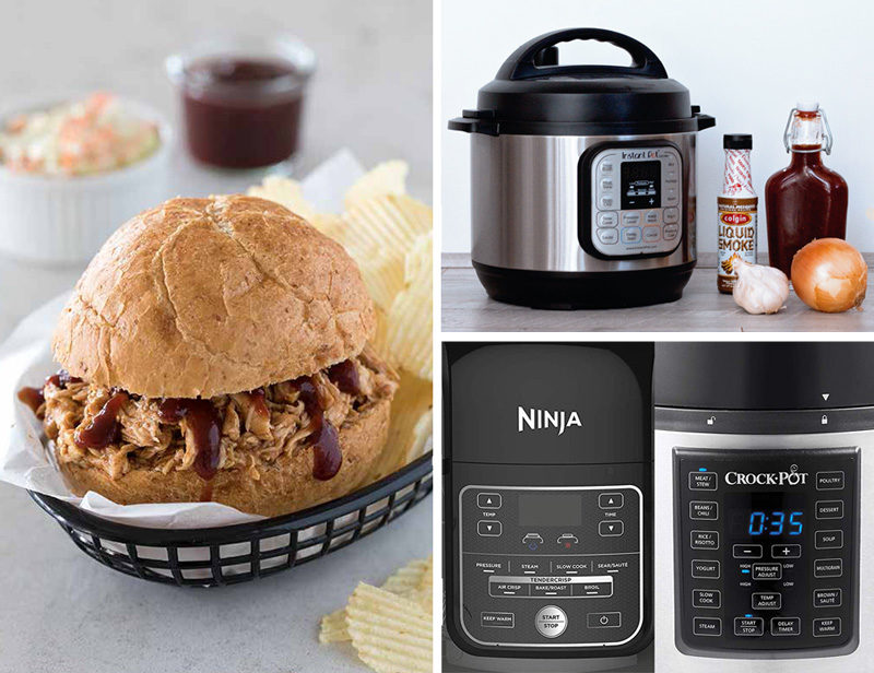 Make Your First Meal in the Electric Pressure Cooker - Shredded Barbecue Chicken from the Electric Pressure Cooker Cookbook page 64