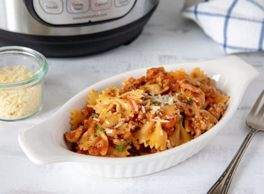 Instant Pot Bow Tie Pasta in a Bowl with an Instant Pot