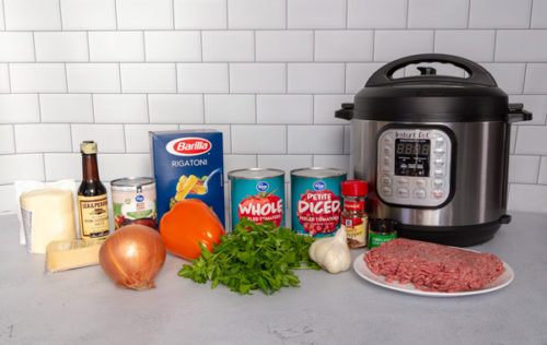 Ingredients to make Instant Pot American Chop Suey