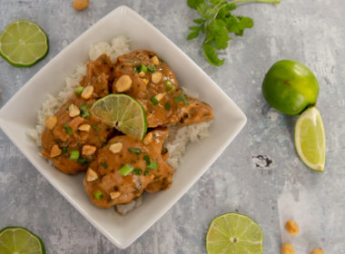 Instant Pot / Pressure Cooker Thai Chicken Thighs with peanuts, cilantro, and lime