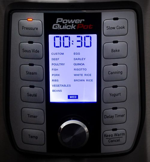 Power Quick Pot pressure cooker menu close up with buttons || Review from Pressure Cooking Today