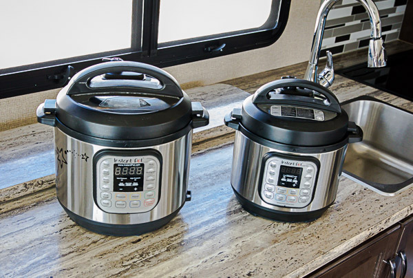 Comparison of an Instant Pot Duo and an Instant Pot Mini inside an RV