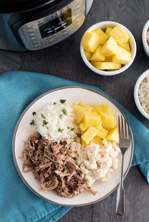 Instant Pot / Pressure Cooker Kalua Pork recipe, plated and ready to serve