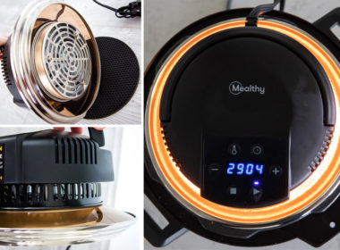 Collage of the Mealthy Crisp Lid - Air Fryer Lid for Electric Pressure Cookers