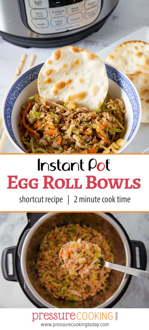 Instant Pot Egg Roll Bowls collage for pinterest