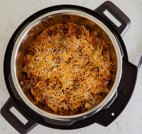 Close up of pasta inside the Mealthy Multi Pot stainless steel cooking pot.