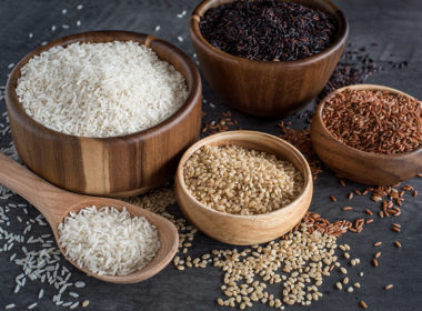 White rice, brown rice, black rice, and pink rice, ready to go in the Instant Pot