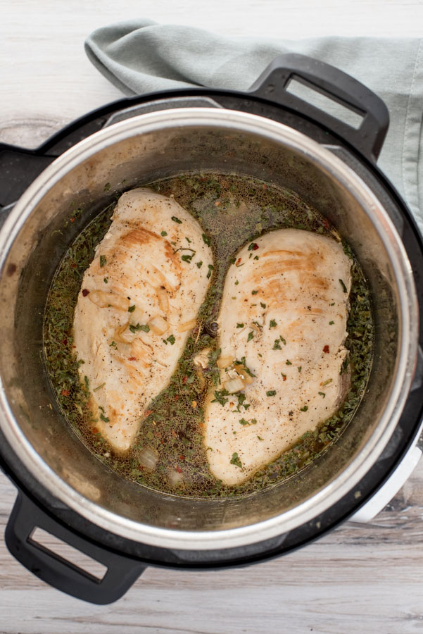 Browning the chicken in an Instant Pot Duo for Cheesy Chicken, Brocoli and Rice casserole