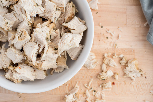 Shredded chicken ready to go into the cheese sauce