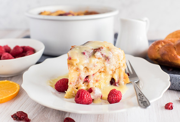 Instant Pot / Pressure Cooker Raspberry Orange Bread Pudding