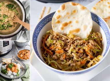 Collage image of Instant Pot Broccoli Cheese Soup, Pressure Cooker Butter Chicken, and Instant Pot Egg Roll Bowls in the 25 Instant Pot Quick Meals post by Pressure Cooking Today