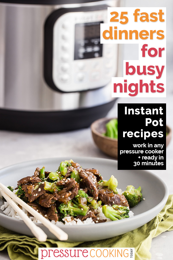 Pinterest Image 25 Fast Dinners for Busy Nights by Pressure Cooking Today