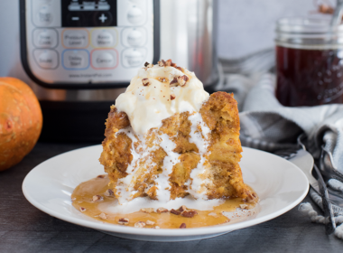 Instant Pot /Pressure Cooker Pumpkin Baked French Toast with an Instant Pot in the background