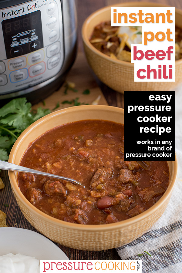 Pin It Now: Beef and Bean Instant Pot Chili, dished up in a yellow serving bowl with an Instant Pot in the background