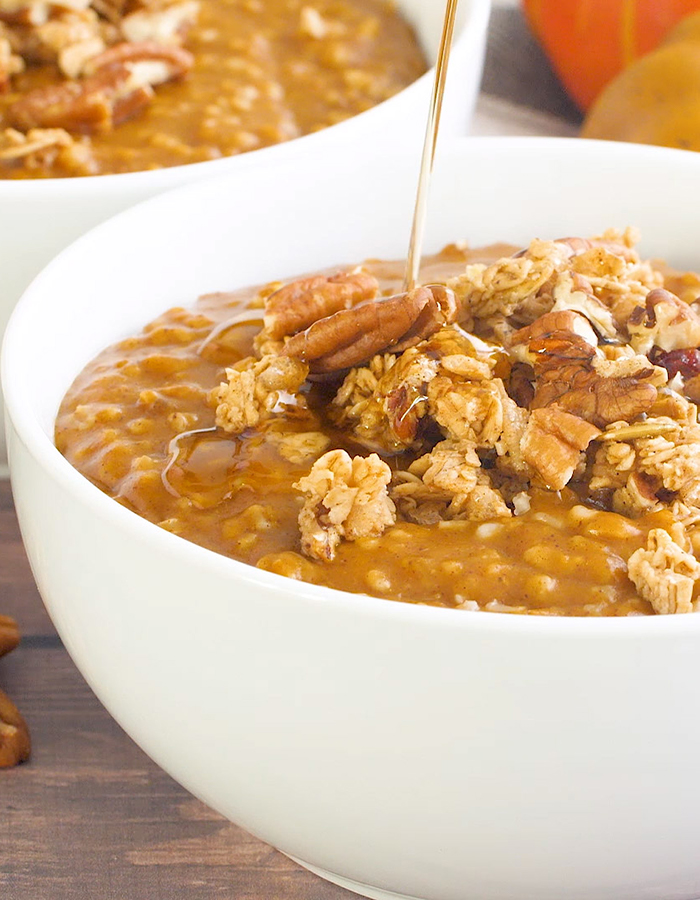 A drizzle of maple syrup topping Pumpkin Pie Steel Cut Oats