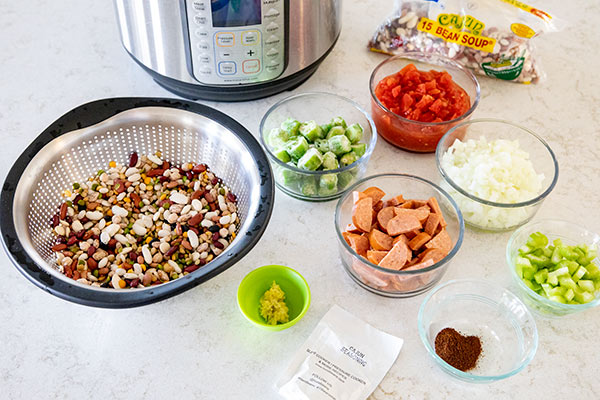 Ingredients for making Instant Pot Cajun 15 Bean Soup with Rice and Sausage