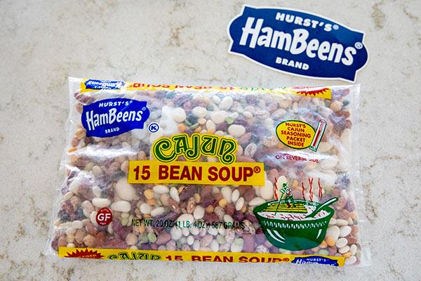 A 20 ounce package of Hurst Cajun 15 Bean Soup
