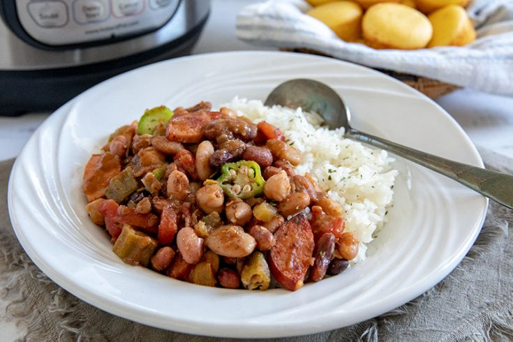 Pressure Cooker / Instant Pot Cajun 15 Bean Soup with Rice and Sausage