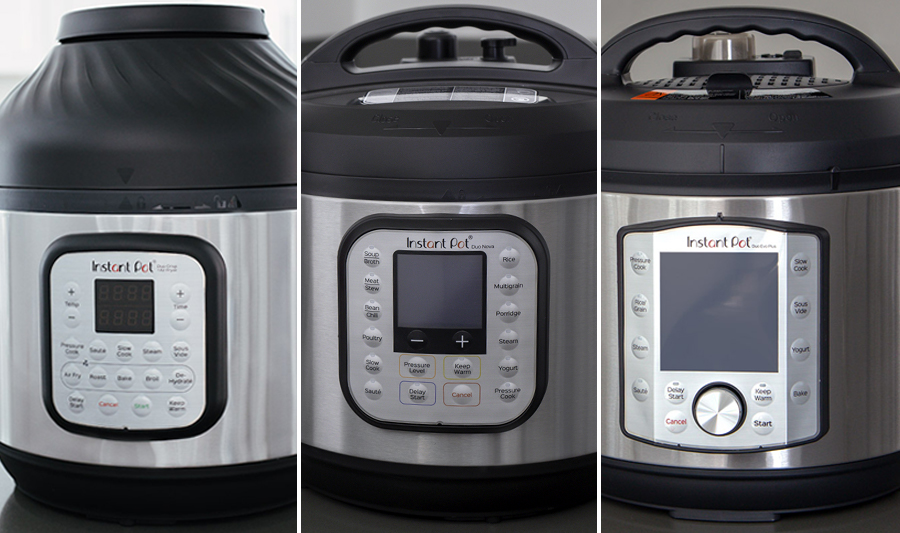 Close ups of three different Instant Pot models for the Instant Pot Comparison