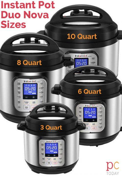 Instant Pot Duo Nova size comparison for the 3 quart, 6 quart, 8 quart, and 10 quart.