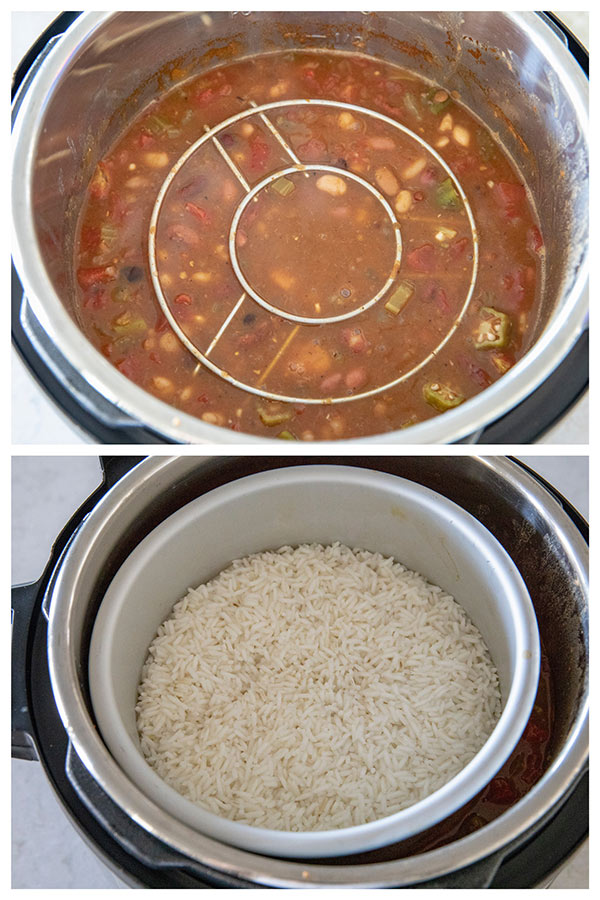 Cooking White Rice on top of Cajun Soup in the pressure cooker