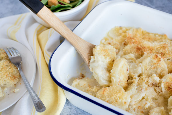 Au gratin potatoes in a serving dish ready to be served.