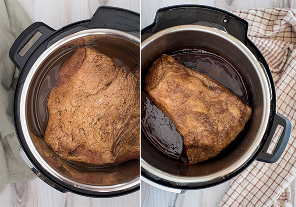 Two different cuts of brisket cooked in an Instant Pot