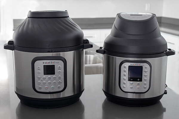 A side by side comparison of the Instant Pot Duo Crisp and the Instant Pot Air Fryer Lid on top of the Instant Pot Duo Nova.