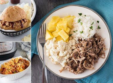 collage of Pulled BBQ chicken, Bow-Tie pasta, and kalua pork, all part of the Instant Pot Beginner meal Plan post