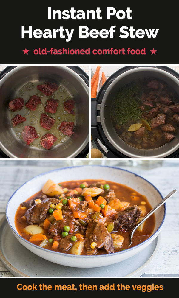 A picture collage of browning beef, mixing beef, beef broth and spices, and a bowl of the beef stew made in an instant pot.