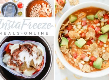 InstaFreeze collage with ingredients measured and chopped, adding the final few items to the cooked soup, the ingredients in a ziplock ready to freeze, the the creamy enchilada soup with all the toppings.