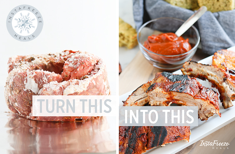 InstaFreeze collage with frozen ribs and cooked ribs ready to serve with BBQ sauce.