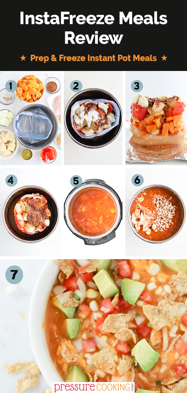 InstaFreeze review collage with images including all the ingredients chopped and measured, all the ingredients in the ziplock container, the ingredients frozen, the ingredients frozen in an Instant Pot, The ingredients cooked in an Instant Pot, adding the final ingredients to the recipe, and the bowl of soup with all the toppings.