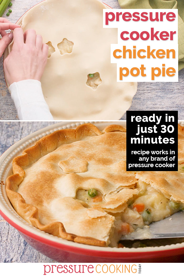 Instant Pot / Pressure Cooker Chicken Pot Pie features a creamy filling of hearty potatoes, tender chicken, peas, carrots and celery under a flaky golden pie crust. You won't believe how easy it is to put together! | Recipe from #PressureCookingToday | via @PressureCook2da